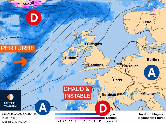 Carte de prévisions d'europe