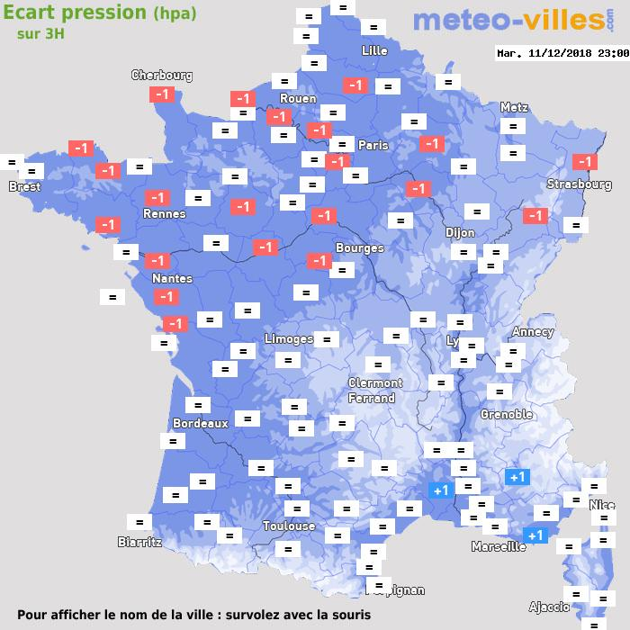 Météo France écart pression
