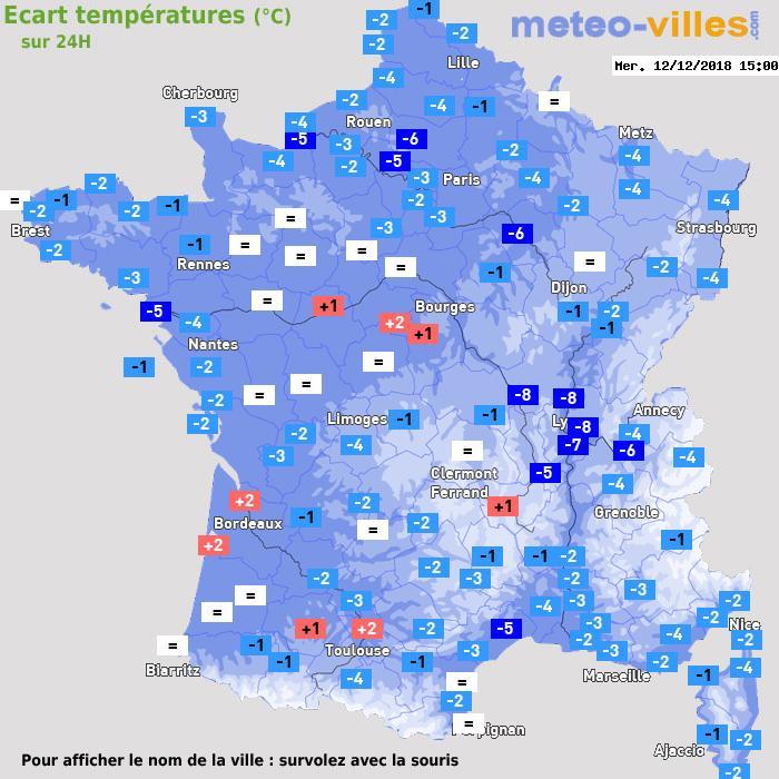 Météo France écart températures