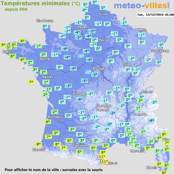 Météo France températures minimales