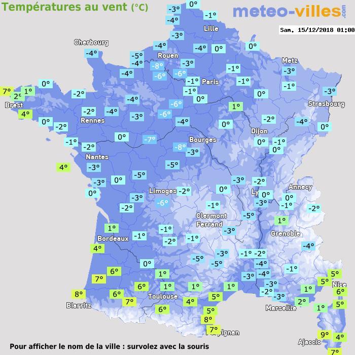 Météo France températures windchill