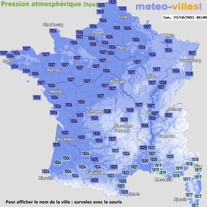 Météo France pression atmosphérique