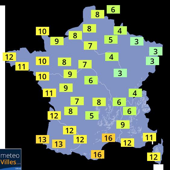 Carte des prévision des températures