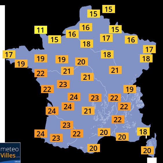 Carte températures France